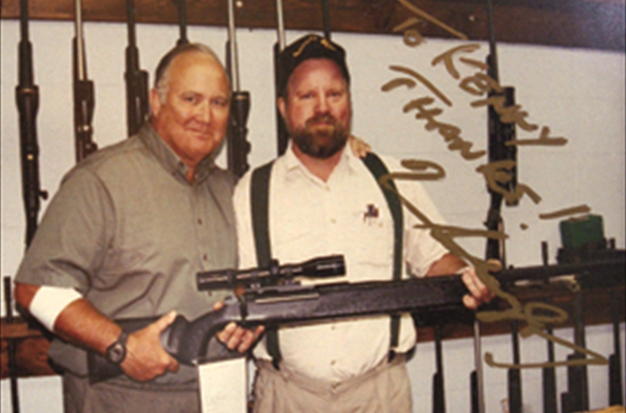 General Norman Schwarzkopf during a visit at the shop with Kenny Jarrett.